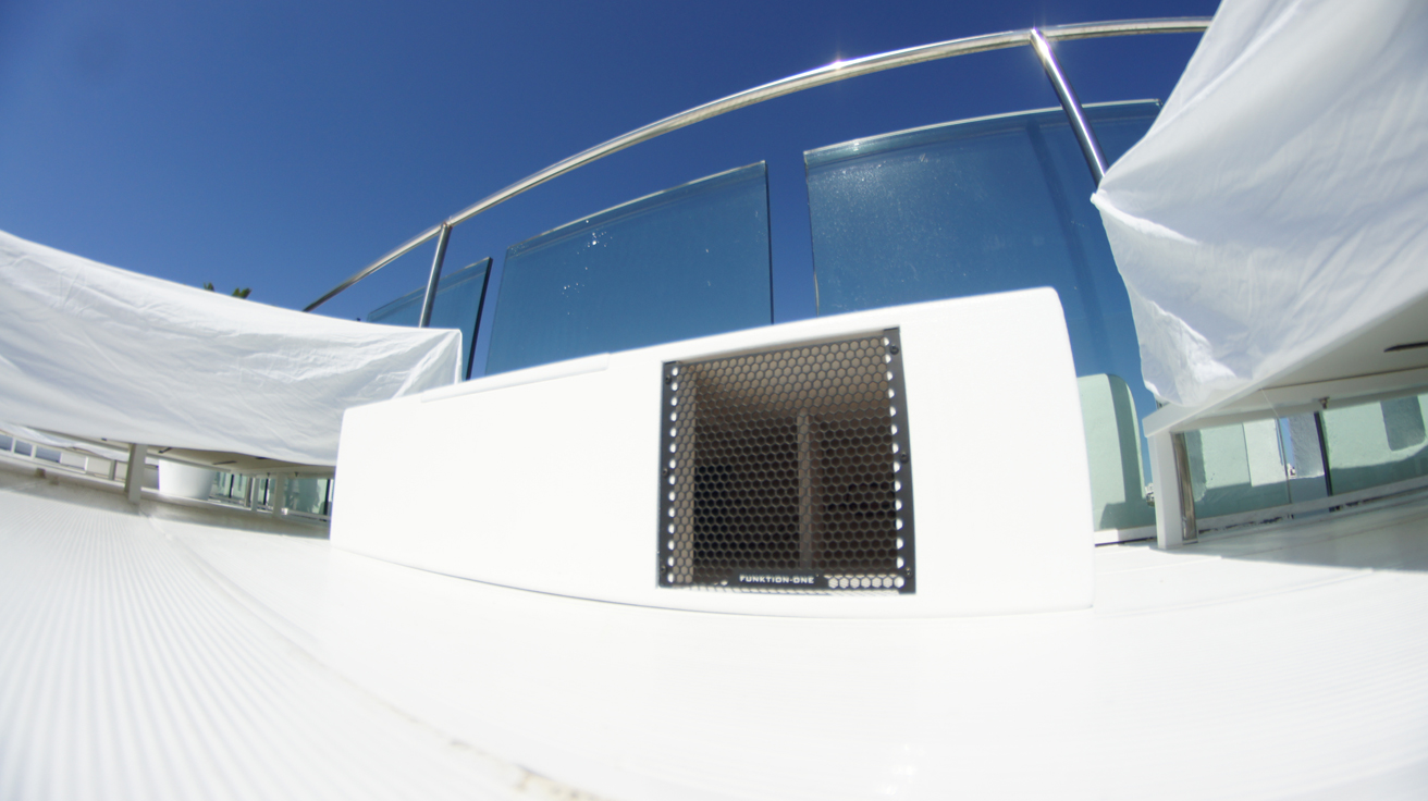 MB210LP bass installed on rooftop of Hotel Es Vivre Ibiza
