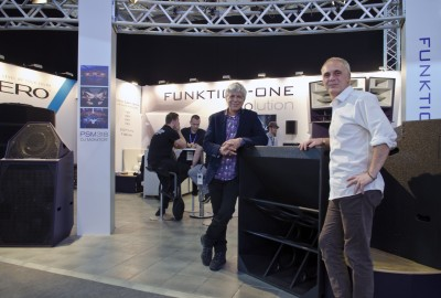 Funktion-One founder Tony Andrews with Powersoft's Research and Development Director, Claudio Lastrucci