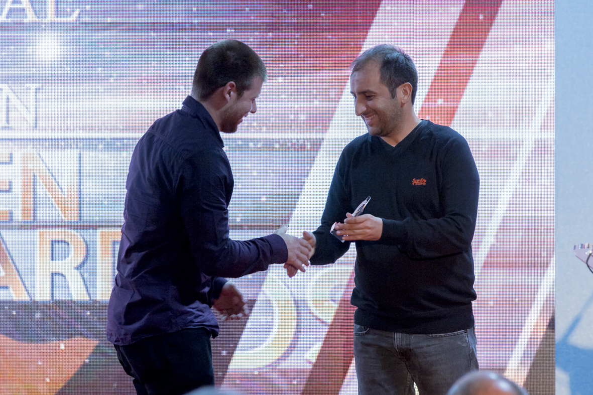 Funktion-One design engineer, Mike Igglesden, receives the award on behalf of the team.