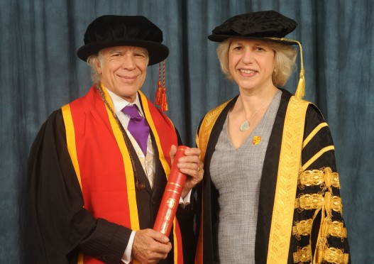 Funktion-One founder Tony Andrews with HWrexham Glyndŵr University's Vice-Chancellor Professor Maria Hinfelaar